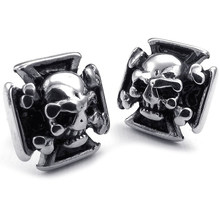 Jewelry Earrings for Men - Gothic Cross Skull Ear Studs - Stainless Steel - for Men - Black Silver - With Gift Bag(China)
