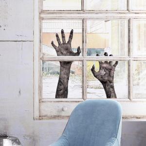 Image 2 - Pegatina de pared Visual de doble cara, 5 estilos, impermeable, extraíble, decoración del Festival de Halloween, suministros esenciales