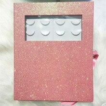 16 Pairs Portable Empty Eyelash Storage Book Glitter Paper F