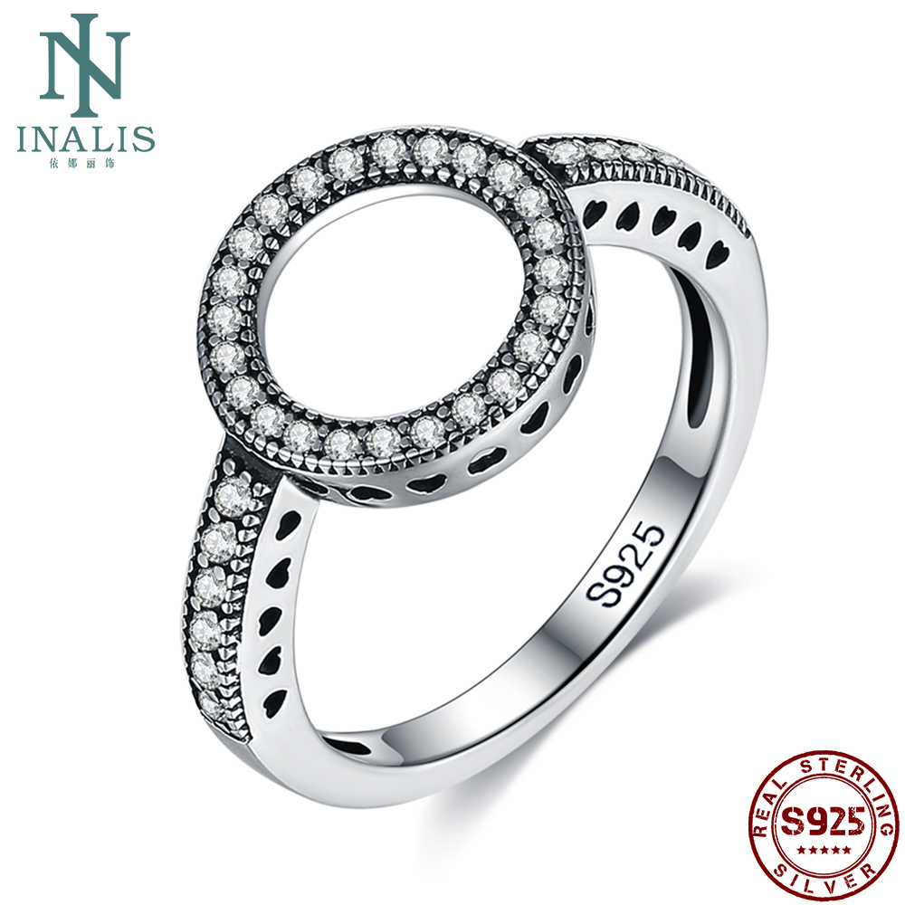 INALIS Hollow Love Genuine 925 Sterling Silver Round Rings For Women 5A Clear Cubic Zirconia Ring Fine Jewelry Anniversary Gift