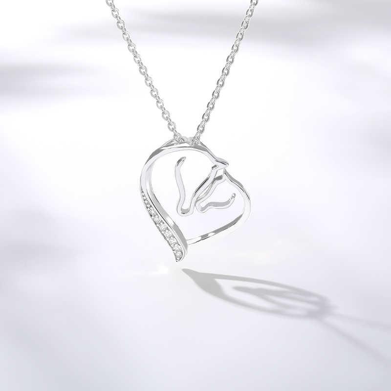 2019 ожерелье в виде сердца, Очаровательное ожерелье с кристаллами из циркона, нержавеющая сталь, золотистый Серебристый с розой, золото, женское ожерелье, подарок на день рождения, BFF