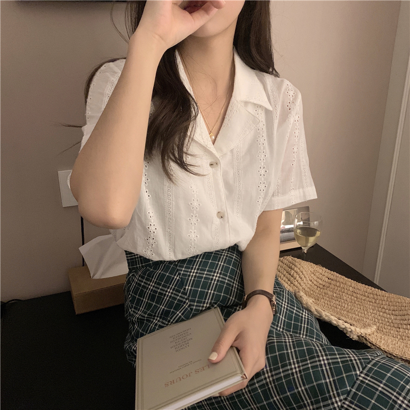 H7556427cb2c1455aa8545cd5851a852c0 - Summer Notched Collar Short Sleeves Embroidery Solid Buttons Blouse