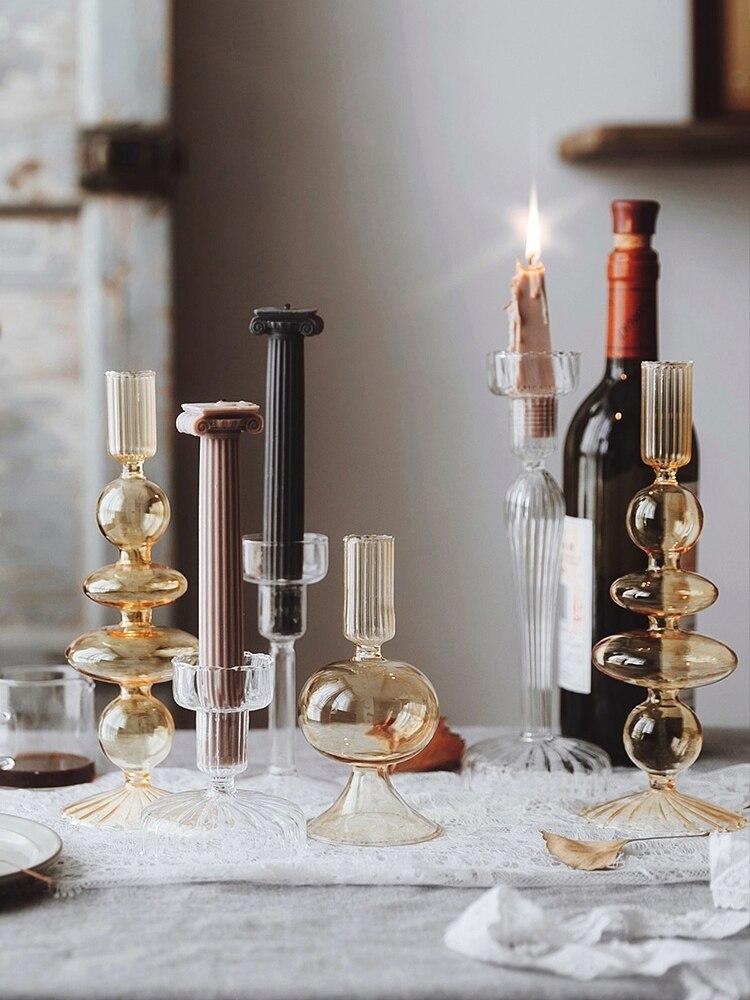 Criativo castiçal de vidro cristal suporte de vela decoração simples casamento romântico luz de velas jantar decoração
