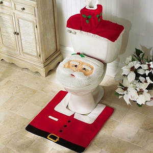 USSTOCK 3Pcs Santa Toilet Seat Cover Rug Christmas Bathroom Set Home Decorations