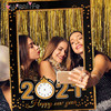 2021 Happy New Year Paper Photo Booth Frame New Year Eve Party  Decoration Photo Booth Props Christmas Decorations for Home Noel
