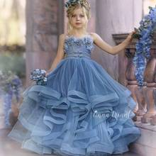 Haze azul vestidos da menina de flor para o casamento rendas 3d floral appliqued little kids pageant vestido em camadas saias vestidos de desfile