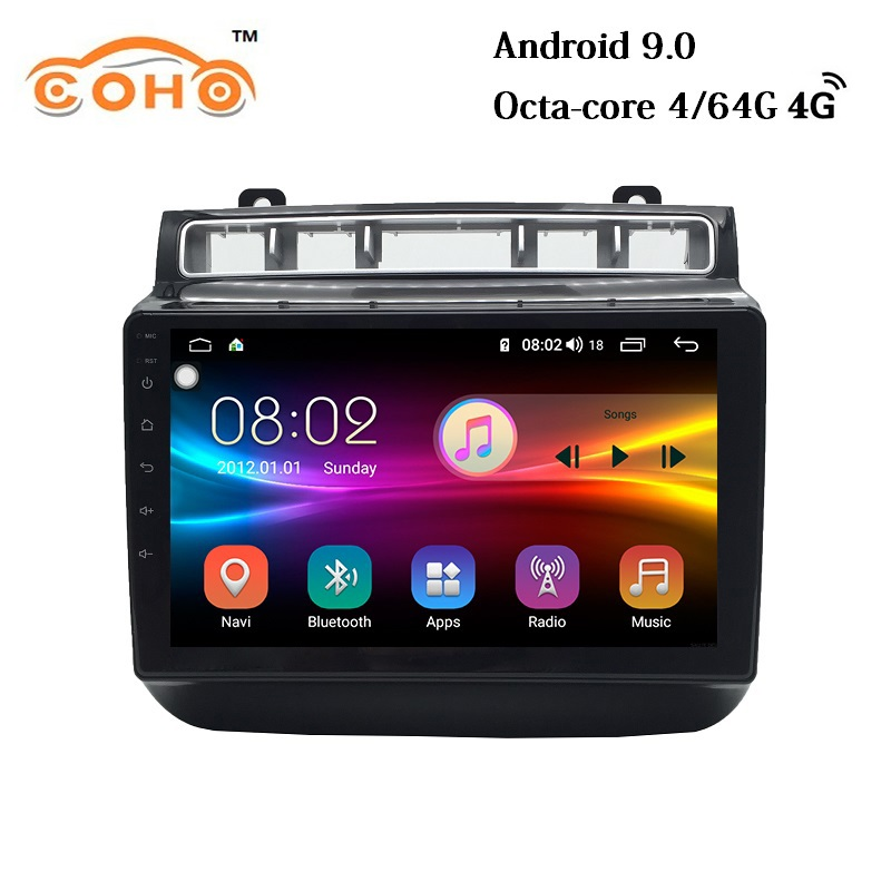 Car Multimedia player 1 Din Android 9.0 4G/64G Car DVD For 2015-2017 VW/Volkswagen touareg touch screen with GPS DSP 4G internet