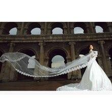 Фата свадебная длиной 5 м фата с кружевной каймой белый/цвета