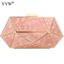 Różowe złoto akrylowe geometryczne kopertówka projektant sprzęgła torebka Prom impreza wieczorna formalne panie marmurowa torebka ślubna biała torebka