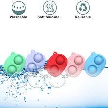 Porte-clé en Gel de silice, 5 pièces, décompression, Simple, Fidget, Jouet, décompression, rotation, porte-clés, Jouet Sensoriel