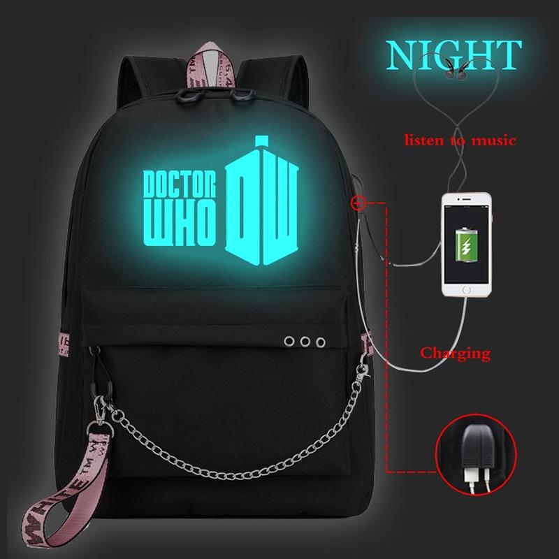 Mochila Doctor Who Laptop Backpack Bookbags Women Backpacks Usb Charge School Bags for Teenage Girls Casual Travel Backpack