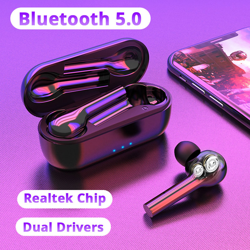 TWS Bluetooth Earphone Dual Driver IPX7 Waterproof Wireless Bluetooth 5.0 Headset For Xiaomi Redmi Note 8 Samsung S8 Umidigi F2