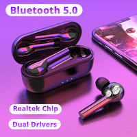 Touch Control TWS Bluetooth Earphone Dual Driver IPX7 Waterproof Wireless Bluetooth 5.0 Headset For iPhone X XS 7 8 Samsung s8