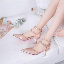 2020 новинка туфли туфли женские туфли телесный цвет заклепки высокие каблуки туфли туфли сандалии лодыжки ремешок +пуанты носок женщины% 27 обувь женские туфли