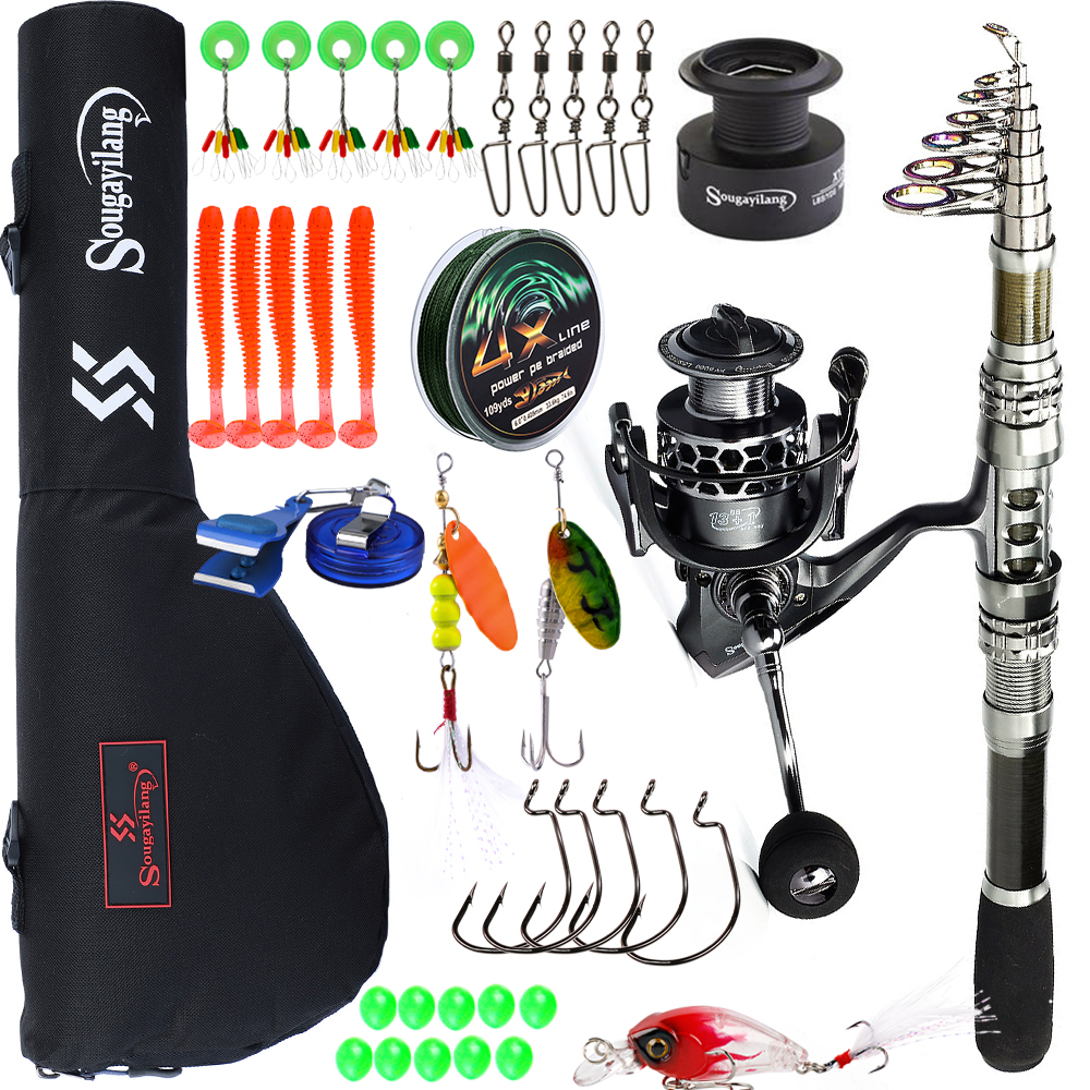 Sougayilang 1.8-3.3m Spinning Fishing Rod and 13+1BB Fishing Reel Combo Carbon Fiber Telescopic Fishing Pole Kit Fishing Tackle