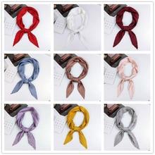 2020 new Solid Color Pleated Diamond Square Artistic Retro Classic Small Scarf All -match Decorative Neckerchief Women