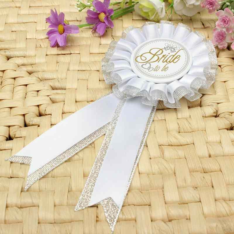 New Style Bride To Be Hen Night Party Rosette Badge White Badge Brooch Pin Hen Night Bachelorette Party Supply Boutonnieres(China)