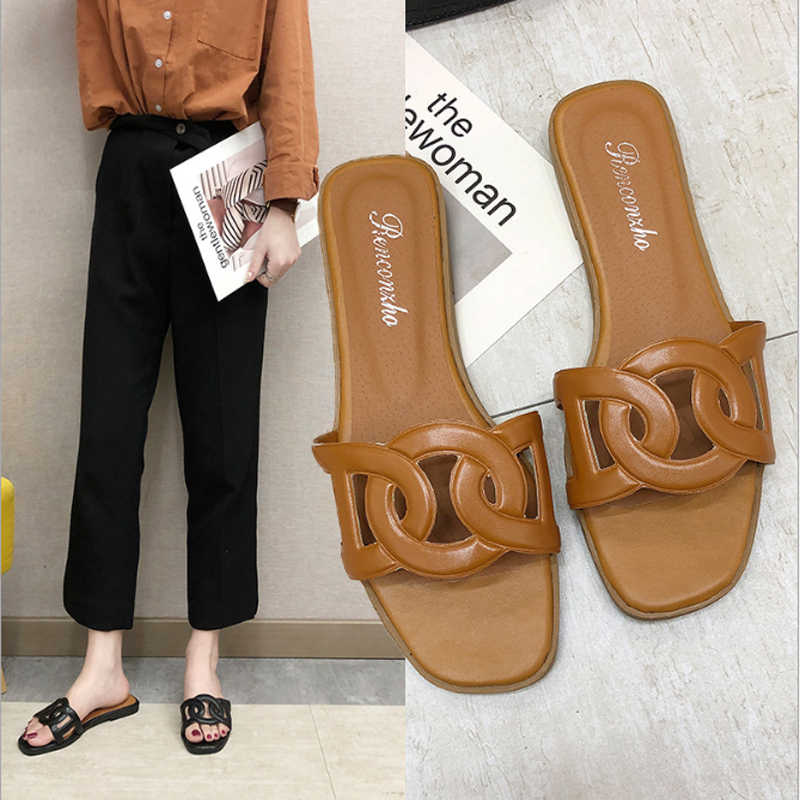 2020 New Style H Sandals Roe Drag A- line WOMEN'S Sandals Summer Diamond Shuanghuan Genuine Leather Hollow out Large Size H Slip