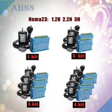 4 eksen kapalı döngü motor kiti: nema 23 step motor kapalı döngü sistemi + servo sürücü HBS57H 3M kablo ile cnc parçası
