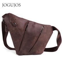 JOGUJOS Genuine Leather Men Messenger Bag Casual Crossbody Bag Fashion Men's Handbag Man Chest bag Male Shoulder Bag Belt Bag