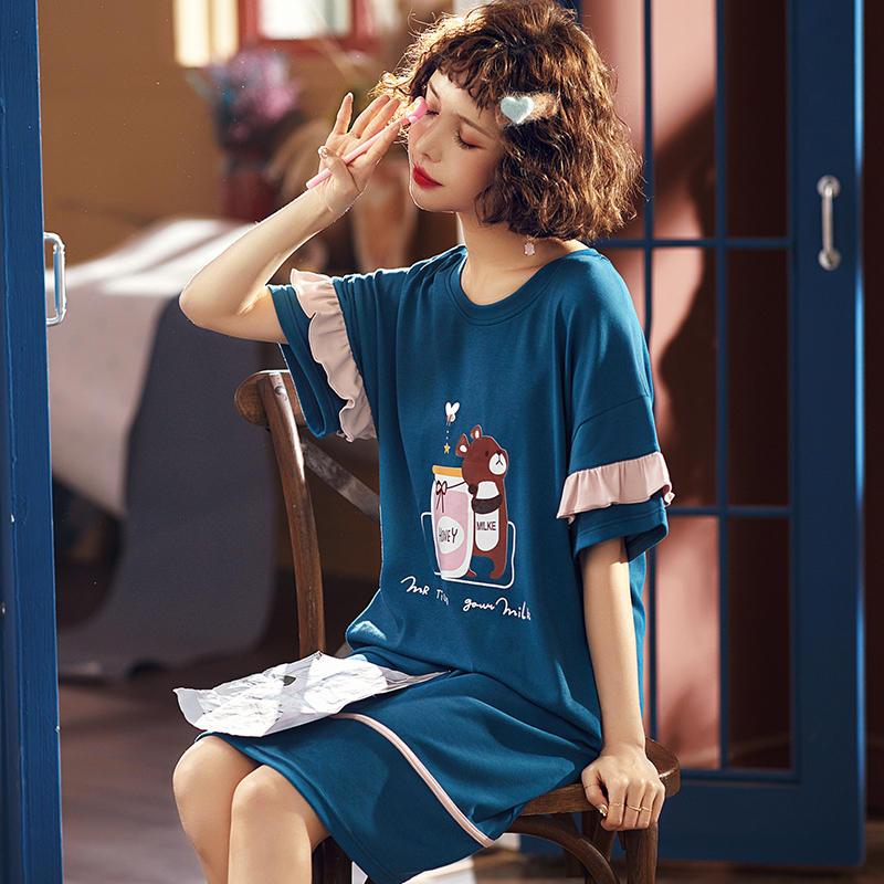 Lazy Style 2020 Summer Women's Short Cotton Sleepwear Home Nightshirt Women Causal Sleepwear Loose Ladies Nightgown Women Dress
