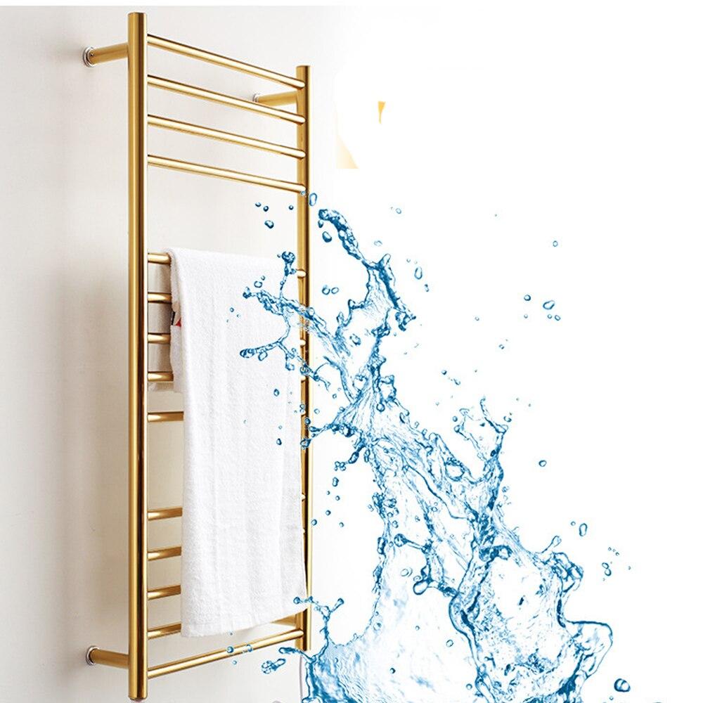 Bathroom 304 Stainless Steel Gold Heated Towel Warmer Waterproof Grade Ip56 Electric Heating Towel Rail Rack 162w 110v/220v