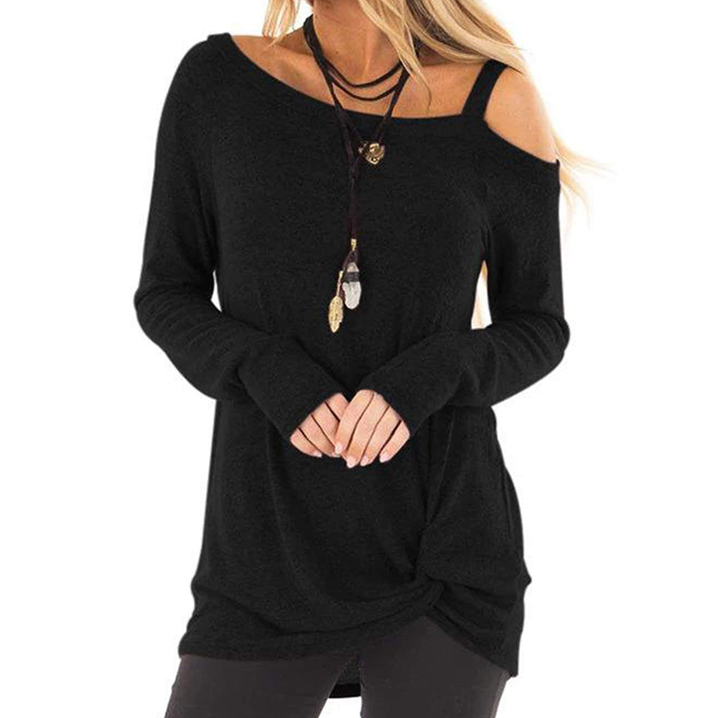 Women's Shirts Long Sleeve Crewneck Strapless Shoulder Pullovers Winter Solid Color Casual Tunic Blouses Solid Color Twisted