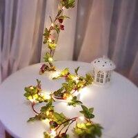 Cadena de rosas intermitentes de 2M, luces con batería 3AA, guirnalda de hadas de vid rosa, luz para Navidad, boda, decoración del hogar