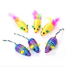 цены 1pcs Original Pet Cat Toys Mouse Feather Toy Funny Rabbit Fur False Mouse Mini Training Playing Toys For Cats Kitten Pet Product
