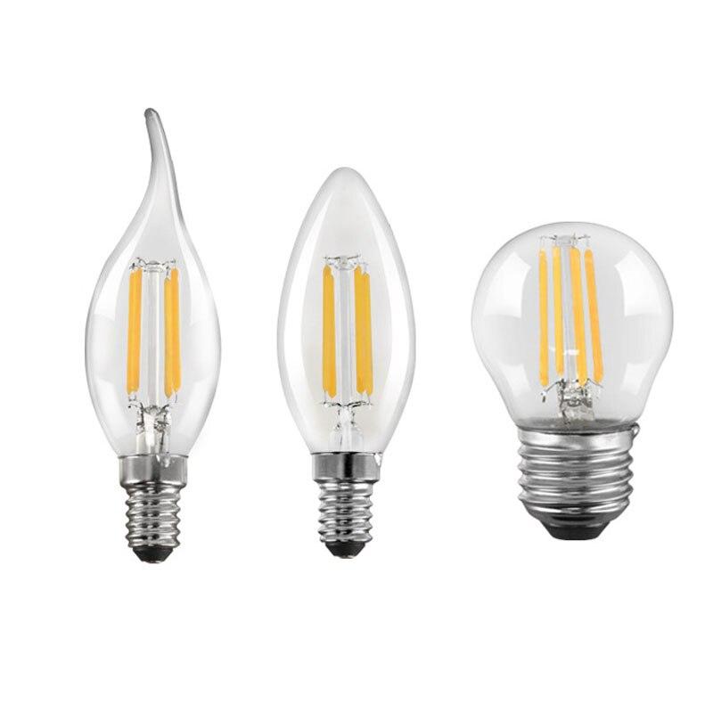 E27 E14 Ретро Эдисон светодиодный лампы накаливания 220V 4W 8W 12W светильник лампочка C35 C35L G45 Стекло лампы Винтаж люстры лампы в форме свечи светиль...