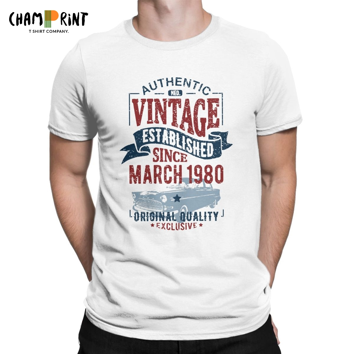 Men's T-Shirt Vintage Since March 1980 Humor Tee Shirt 40 Years Old 40th Birthday Gift T Shirt Round Collar Clothes Printing