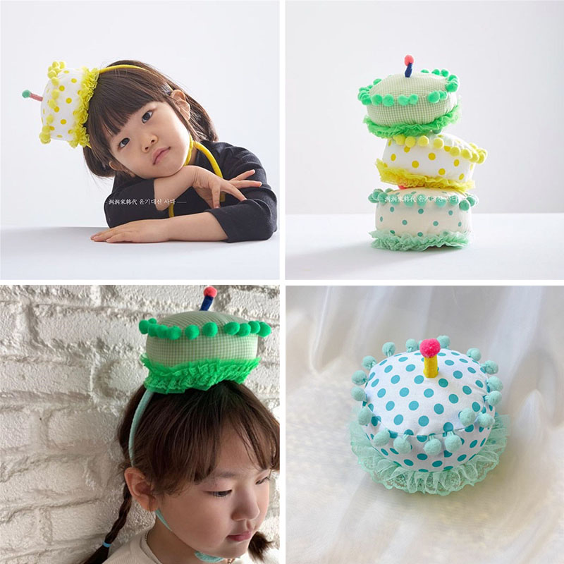 EnkeliBB Baby Toddler Lovely Birthday Party Headband Birthday Cake Hat Headbands Kids All Accessories