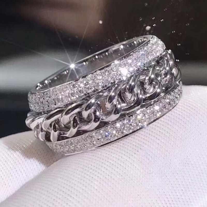 Hip hop vintage moda jóias 925 prata esterlina pave branco claro aaaaa zircão cúbico rotatable corrente feminino anel de casamento presente