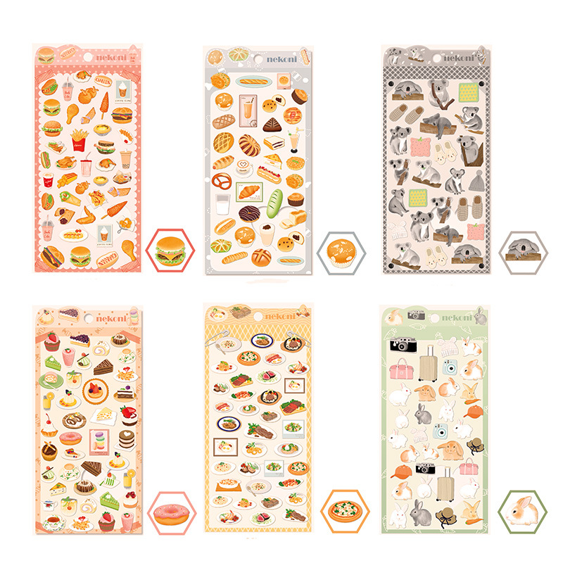 Hamburg Steak Animal Koala Rabbit Journal Decorative Stickers Scrapbooking Mobile Phone Stickers Stationery DIY Album Stickers