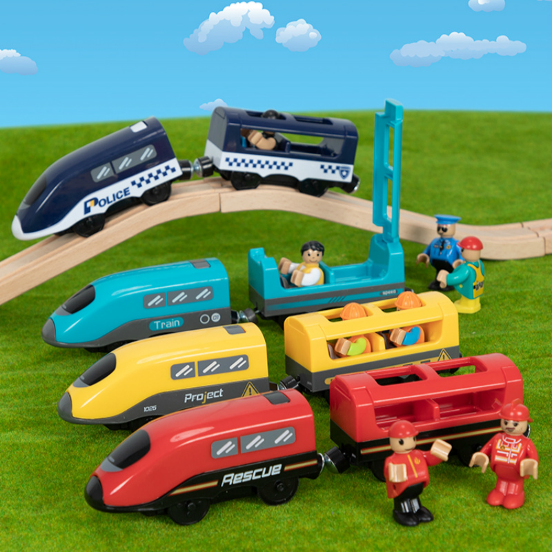 Electric Wooden Train Toy Magnetic Slot Diecast With Sound Fit Wood Railway Track Accessories Christmas Gilft For Children