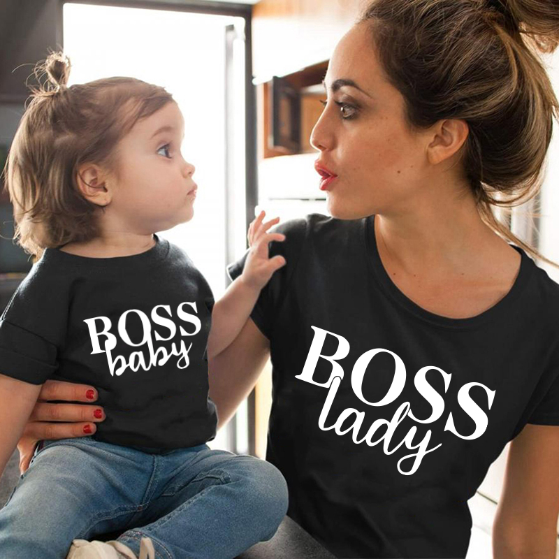 Boss Lady And Boss Baby Letter Baby Girl Clothes Mother Daughter Matching Family Outfits Famili Look Tshirt Mommy And Me Clothes