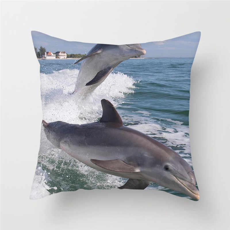 Fuwatacchi animales delfín funda de cojín para sofá decoración del hogar océano mundo funda de almohada para coche hogar funda de almohada decorativa