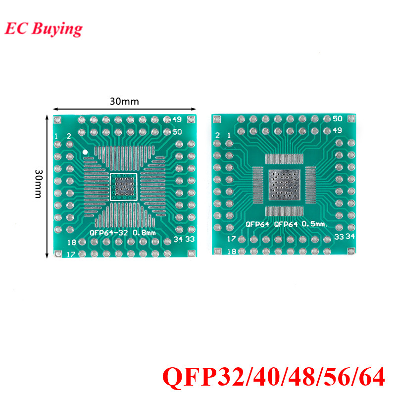 5 шт. QFP 32 40 48 56 64 Адаптер платы передачи печатная плата SMT SMD К DIP40 DIP32 DIP64 DIP Pin IC тестовая пластина 0,5 мм 0,8 мм шаг