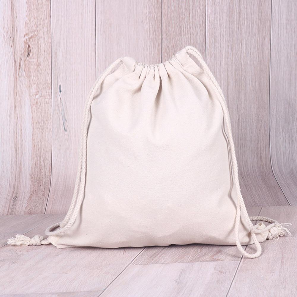 Canvas Bag Drawstring Bundle Pocket Beach Bag Cotton Pouch Sport Bag Unisex Eco-friendly Backpacks Custom Creative Shopper Bag