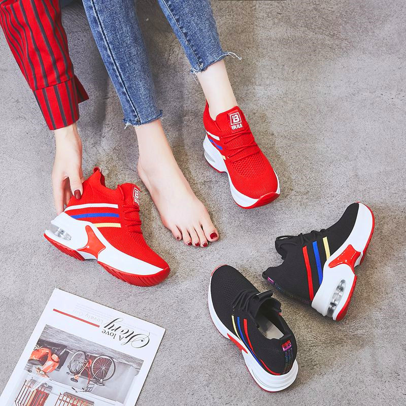 Joker Fashion Ladies Flying Woven Shoes Comfortable Wicking Breathable Ladies Vulcanized Shoes Lightweight Thick Bottom Shoes
