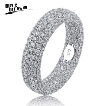 Hip Hop 925 Sterling  Stamp Ring Luxury Full Cubic Zircon Gold  Charm Jewelry Punk Male Women Finger Rings Size 7-11
