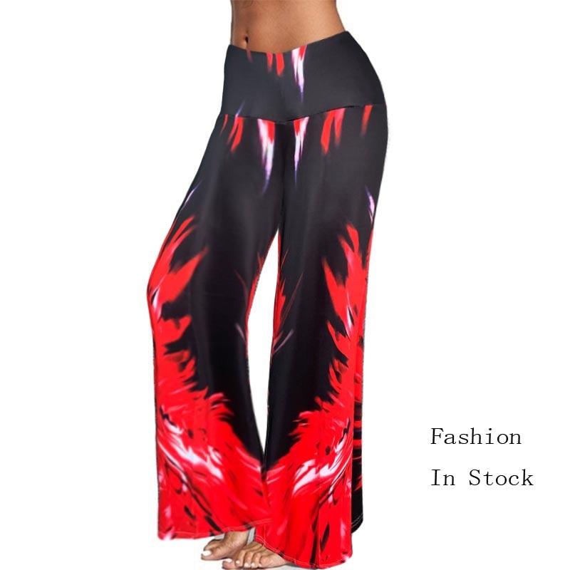 2020 Summer Women Ladies Wide Leg Pants High Elastic Waist Loose Casual Tie Dry Floor Length Capris