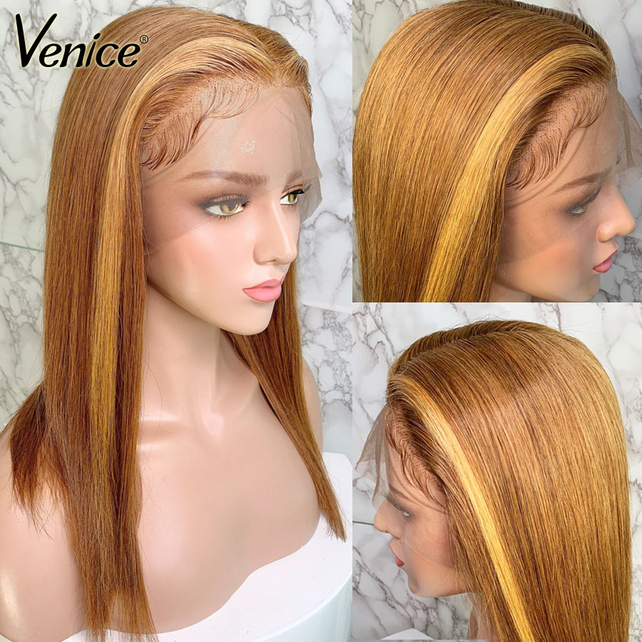 Venice Highlight 13x6 Lace Front Wigs For Black Women Straight High Ratio Remy Hair Lace Front Human Hair Wigs With Baby Hair
