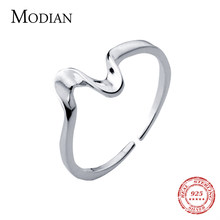 Modian Fashion Wavy Line Open Adjustable Finger Rings for Women 925 Sterling Silver Heartbeat Ring Fine Jewelry Accessories(China)
