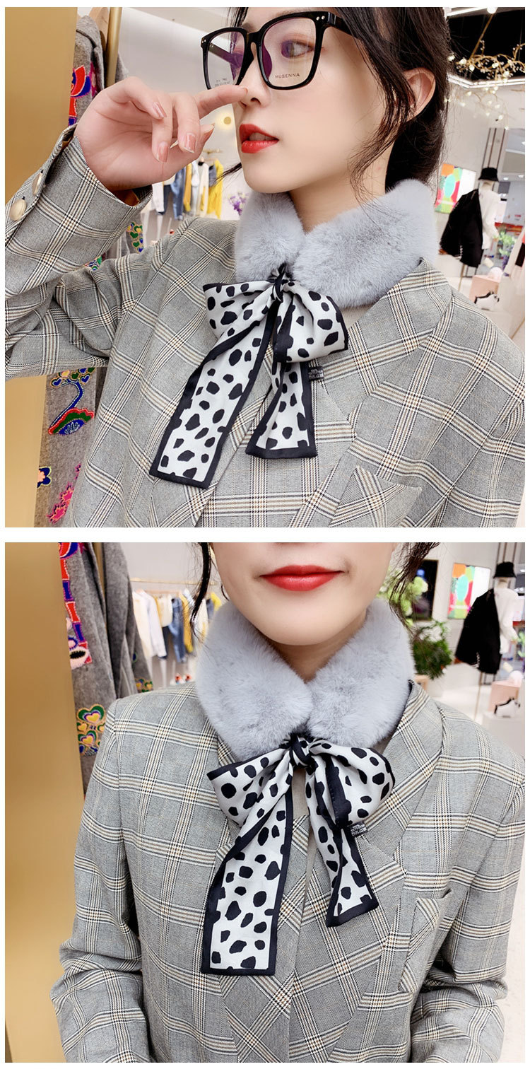 H7557b23c0fee49baba5d8f08963c814a4 - New Long Skinny Silk Letter Leopard Printed Hair Head Scarf with Winter Warm Faux Fur Neck Collar Scarves for Women Foulard