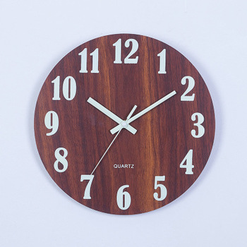 Wooden Wall Clock Luminous Number Hanging Clocks Quiet Dark Glowing Wall Clocks Modern Watches Decoration For Living Room 8