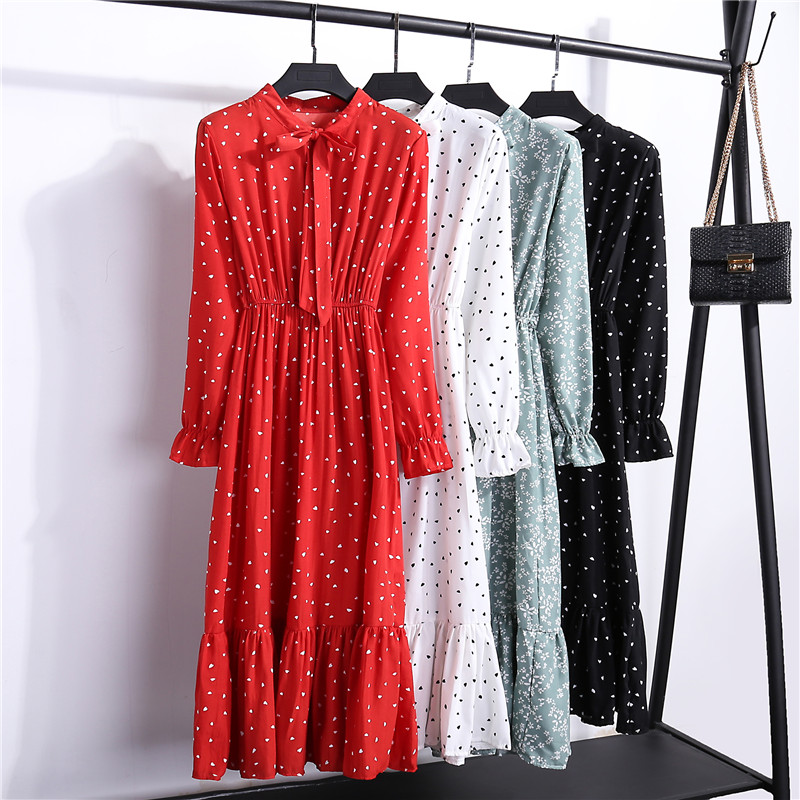 Chiffon-Dresses Stand Bow Neck Long-Sleeve Floral-Print Ruffles Elegant Autumn Women's