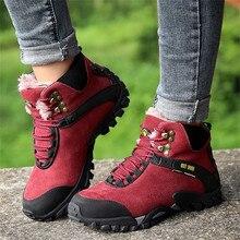 KANCOOLD/уличные кроссовки для походов на теплом меху; женские кожаные ботильоны для горного туризма; зимние треккинговые ботинки; обувь для альпинизма