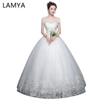 LAMYA New Elegant Lace Vintage Wedding Dress Bridal Gown Dress Abiye Vestido De Noiva Applique Sleeveless Boat Neck Wedding