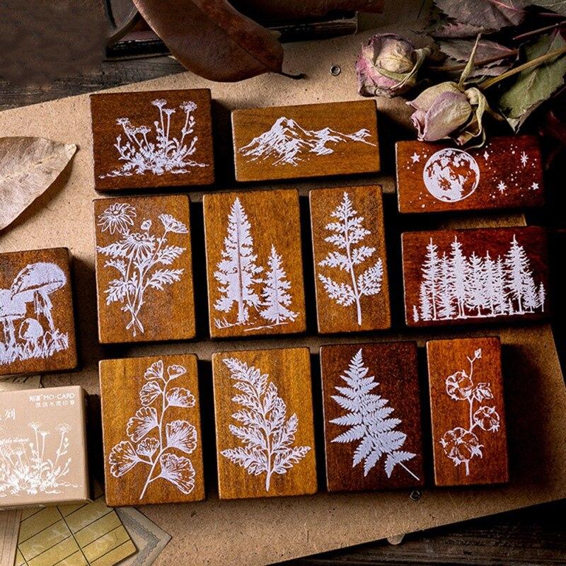 Vintage Forest Plants Moon Decoration Stamp Wooden Rubber Stamps For Scrapbooking DIY Craft Standard Stamp Stationery